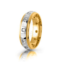 0.24 Ctw Round Diamond Carved Lines Wedding Band 6mm 01501