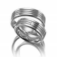 Satin Flat Grooved His And Hers Matching Wedding Rings 0.08 Carat Princess Diamond 7mm 02049