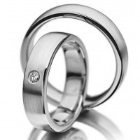 Satin Low Dome Traditional Classic His And Hers Matching Wedding Rings 0.05 Carat Round Diamond 5mm 02061