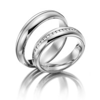 Satin Dome Grooved Extraordinary Ladies And Mens Wedding Bands 0.22 Carat Round Diamond 5mm 02065