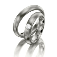 Satin Dome Classic His And Hers Matching Wedding Bands 0.22 Ctw Round Diamond 4.5mm 02072