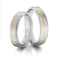 Satin Low Dome Grooved Ladies And Mens Matching Wedding Bands 0.05 Ctw Round Diamond 5mm 02074