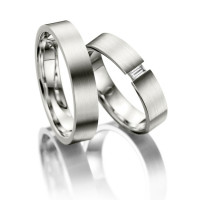 Satin Flat His And Hers Matching Wedding Rings 0.07 Ctw Round Diamond 4.5mm 02077