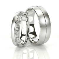 Satin Low Dome Grooved Ladies And Mens Wedding Rings 0.22 Ctw Round Diamond 5mm, 7mm 02091
