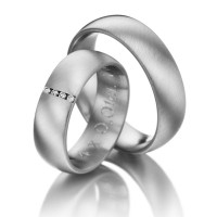 Brush Low Dome His And Her Wedding Rings 0.04 Ctw Round Diamond 6.5mm 02092