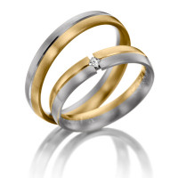 Satin Low Dome His Hers Wedding Bands 0.04 Ctw Round Diamond 4mm 02095