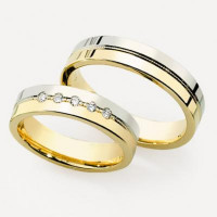 Polish Flat Grooved His And Hers Wedding Rings 0.25 Carat Round Diamond 5mm 02112