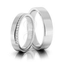 Polish Flat Ladies And Mens Matching Wedding Bands 0.19 Carat Round Diamond 4mm, 5mm 02117