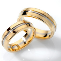Polish Low Dome Grooved Couples Wedding Rings 6mm 02120