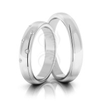 Polish Dome His And Her Wedding Rings 0.15 Ctw Round Diamond 4mm 02124