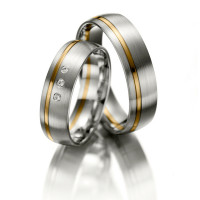 Satin Low Dome His And Hers Wedding Rings 0.03 Ctw Round Diamond 6mm 02143