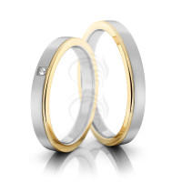 Satin Flat Grooved His And Hers Matching Wedding Bands 0.01 Carat Round Diamond 3mm 02207