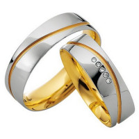 Polish Flat Grooved Ladies And Mens Wedding Bands 0.03 Ctw Round Diamond 6mm 02221