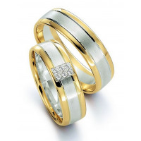 Satin Low Dome His And Hers Matching Wedding Rings 0.06 Ctw Round Diamond 6mm 02274
