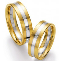 Satin Flat Channel His And Hers Matching Wedding Bands 0.03 Carat Round Diamond 5mm, 6mm 02278