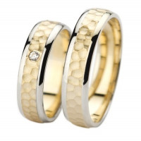 Polish Flat Hammered His And Hers Matching Wedding Bands 0.03 Ctw Round Diamond 4mm, 6mm 02296
