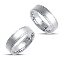 Satin His Hers Wedding Rings 7mm 02360