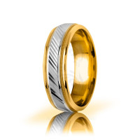 Solid Polish Stylish Carved Lines Wedding Ring 6.5mm 03046