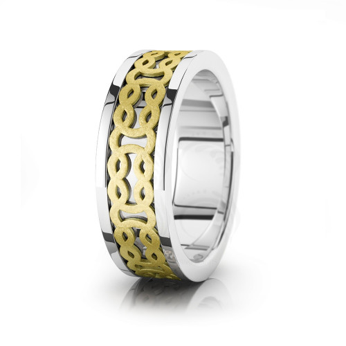 Celtic Chain Wedding Band Polish Sandstone 7.5mm 00022