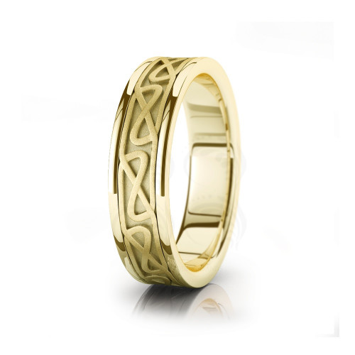 Celtic Chained Hourglass Wedding Band Polish Sandstone 6mm 00044