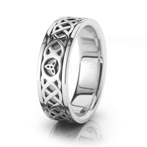 Celtic Trinity Knot Chain Wedding Band Polish 7mm 00047