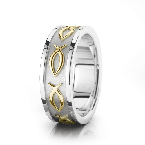 Religious Christian Ichthus Jesus Fish Wedding Ring Polish 7mm 00522