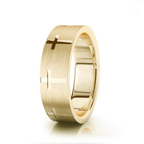 Religious Christian Cross Cut Wedding Ring Satin 7mm 00525