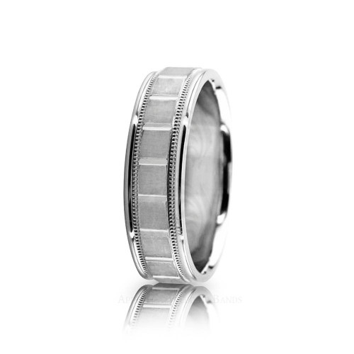 Genuine Satin Stylish Wedding Band 7mm 01069