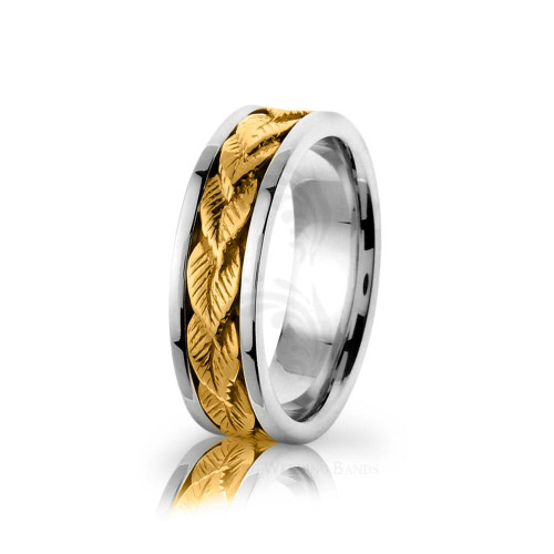 Handmade Polish Braided Leaf Wedding Ring 7mm