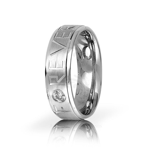 0.12 Carats Round Diamond Carved Lines Band Wedding 7mm 01164