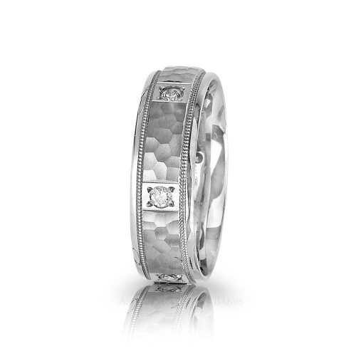 0.3 Ctw Round Diamond Park Ave Hammered Wedding Band 7mm 01217