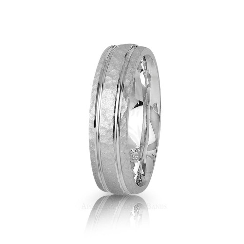 Authentic Satin Stylish Carved Lines Hammered Wedding Ring 6mm 01384