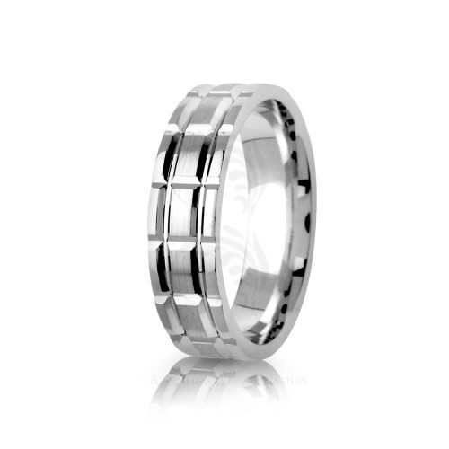 Genuine Polish Diamond Cut Blocks Wedding Ring 6mm 01386