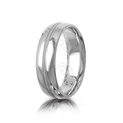 Solid Polish Stylish Center Groove Wedding Ring 7mm 01398