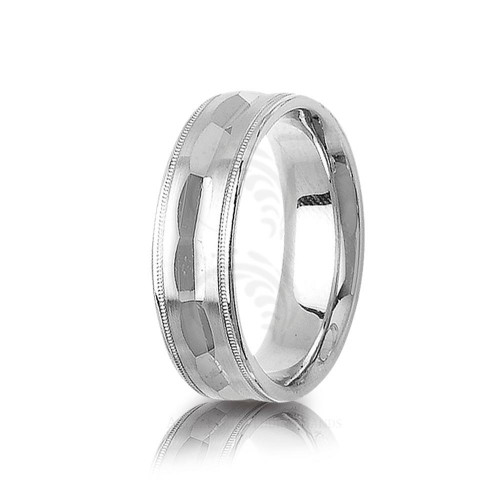 Solid Polish Diamond Cut Center Groove Wedding Band 7mm 01399