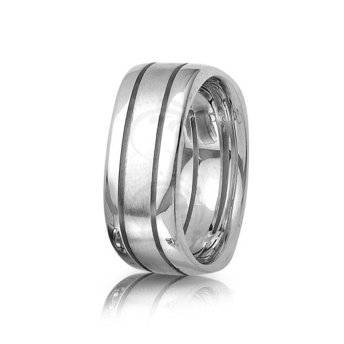 Authentic Polish Stylish Carved Lines Wedding Band 8mm 01401