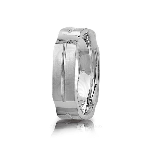 Genuine Satin Stylish Carved Lines Wedding Band 6mm 01408