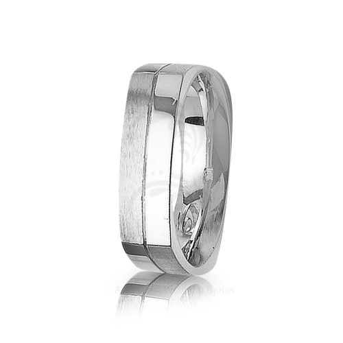 Solid Satin Designer Carved Lines Wedding Band 6mm 01412