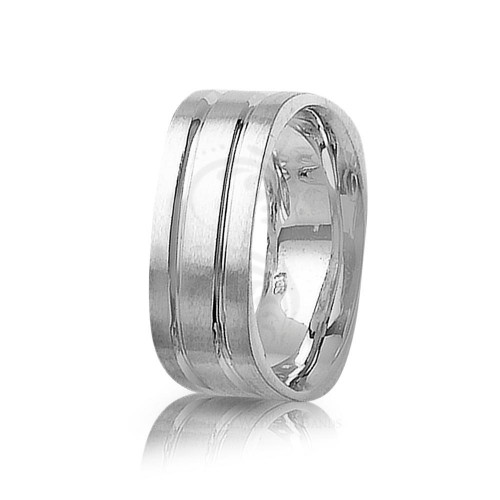 Genuine Satin Diamond Cut Carved Lines Wedding Band 8mm 01416