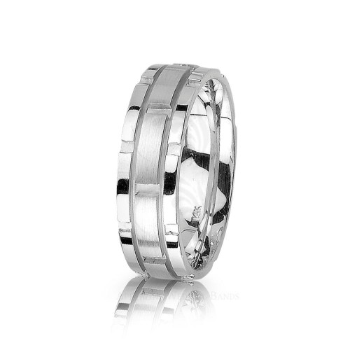 Authentic Satin Stylish Blocks Wedding Ring 7mm 01420