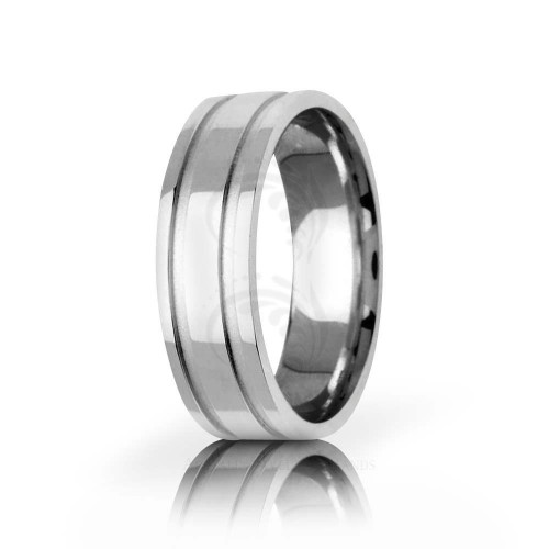 Authentic Polish Stylish Carved Lines Wedding Band 6.5mm 01438