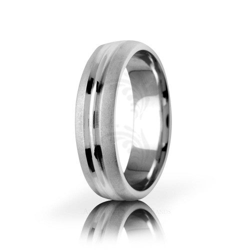 Solid Satin Stylish Center Line Wedding Band 6mm 01448