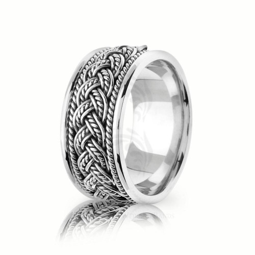 Handwoven Polish Braided Hair Braid Wedding Band 10mm