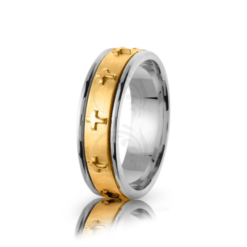 Religious Christian Cross Wedding Ring Polish 7mm 01591