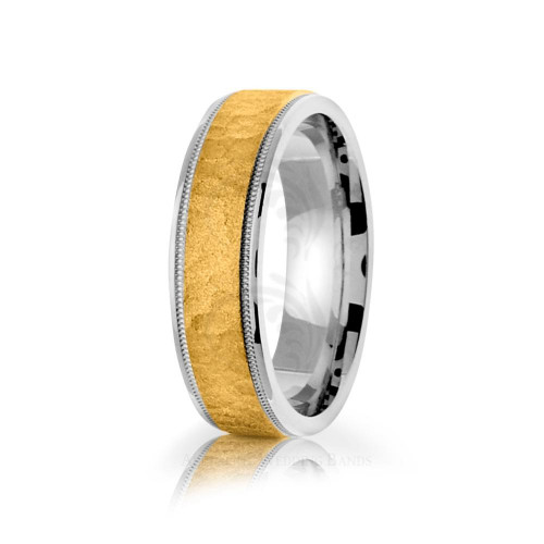 Handwoven Polish Sandstone Center Line Hammered Wedding Ring 6mm