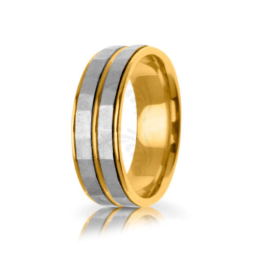 Handwoven Satin Double Stripe Wedding Ring 7.5mm