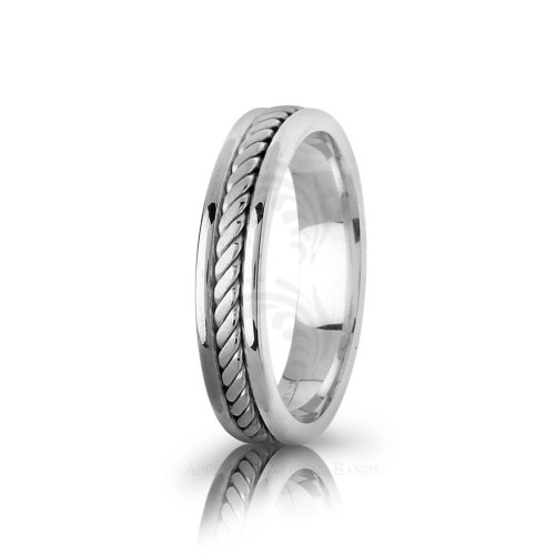 Handwoven Polish Braided Rope Edge Wedding Band 5mm