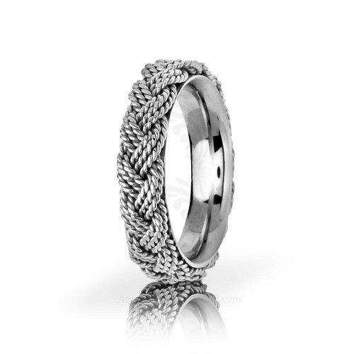 Handmade Polish Braided Hair Braid Wedding Band 5.5mm