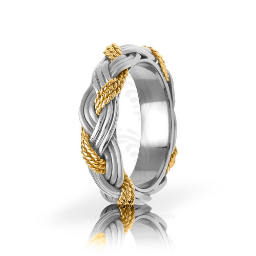 Handwoven Polish Braided Hair Braid Wedding Ring 6mm