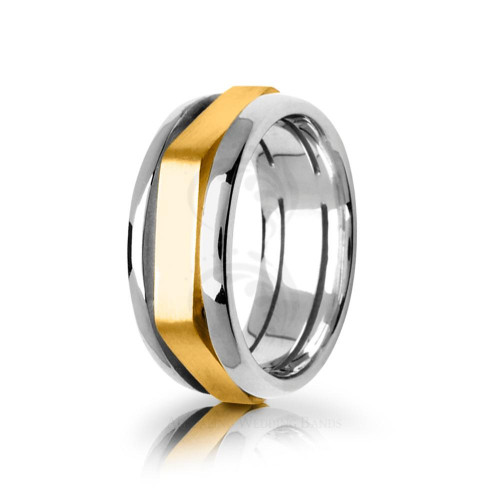 Solid Satin Stylish Center Groove Wedding Ring 8.5mm 01730